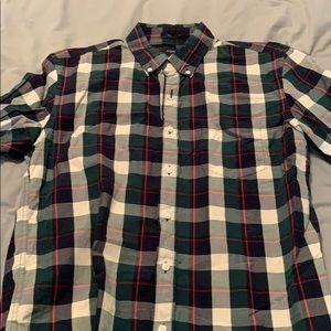 Red, green, navy and white checkered button down